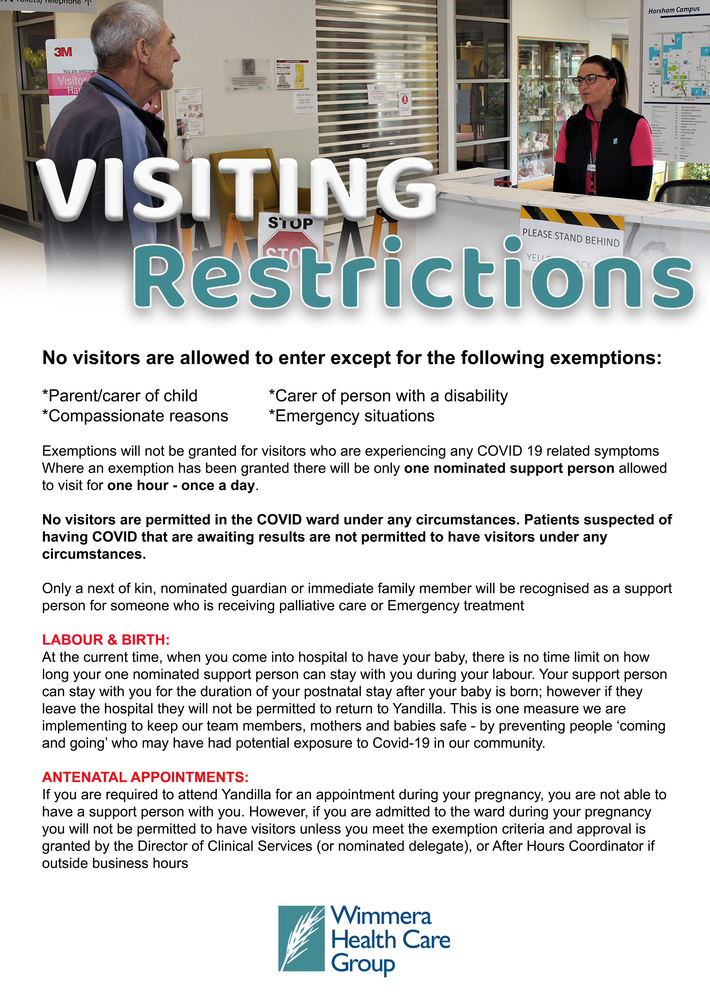 covid visiting restrictions 27 07 20